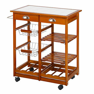 Rolling Kitchen Trolley Cart Drawers Wire Wood Fruit Vegetable Storage Wine Rack