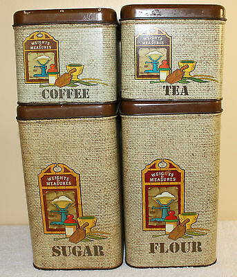 """VINTAGE CHEINCO HOUSEWARES METAL FOUR PIECE CANISTER SET """"WEIGHTS & MEASURES"""""""