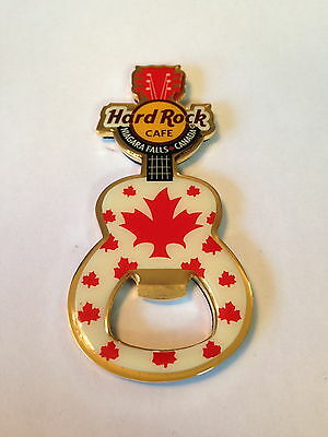 Hard Rock Cafe Niagara Falls Canada Guitar Bottle Opener Magnet Maple leaf Rare!