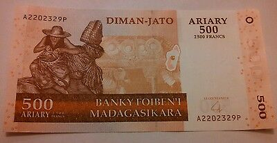 1 2004 Banknote Madagascar 500 Ariary 2500 Francs, paper money Foreign coins