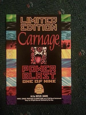 Carnage, Marvel Universe Cards, 1994, Limited Edition, Power Blast, 1 of 9