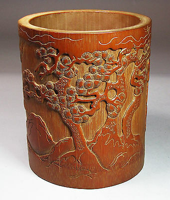 A Very Fine Chinese Bamboo Carved Brush Pot