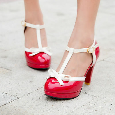 Womens T Strap Lolita Bowtie High Heel Oxford Pumps Leather Retro Shoes Red 7 38