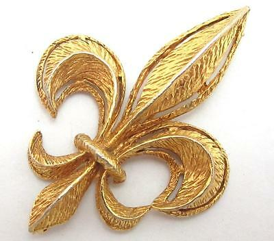 VINTAGE LARGE BEAUTIFUL GOLD PLATED FLEUR DE LYS LIS FRENCH SYMBOL BROOCH PIN
