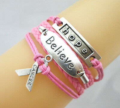 NICE Hope/Believe/Breast Cancer Ribbon Charms Leather Braided Bracelet Fashion