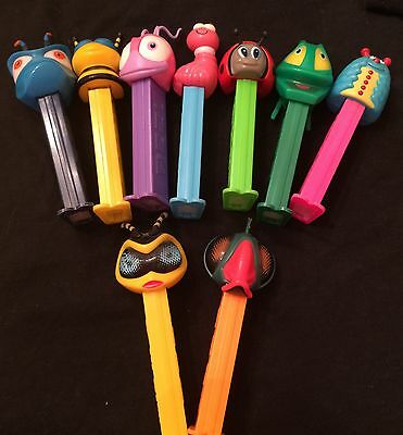 Pez Dispensers Original Lot of 9 Bugz Bee, Ant, Worm, Ladybug, Beetle, Caterpill