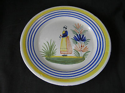 "Old, Vintage Quimper Plate, 8"", Hand Painted, France 1 of 2"