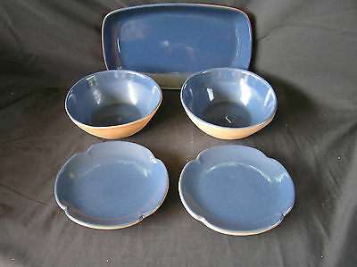 Frankoma Blue Plates, Bowls & Tray 5 Pieces