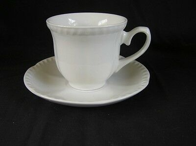 """Johnson Brothers, """"Old English White"""" cup & saucer"""