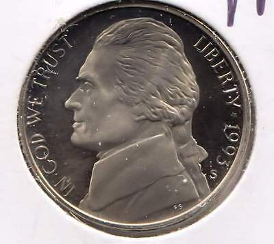 1993 S Cameo Proof Jefferson Nickel - Five Cent Coin - San Francisco Mint