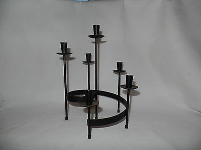 "Six Tier Spiral Metal Candle Holder Candelabra Black  9 1/2"" Tall x 6 1/2"" Wide"