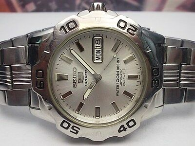 SEIKO 5 SPORTS DAY/DATE AUTOMATIC MEN'S WATCH 7S36-02Z0, SILVER DIAL