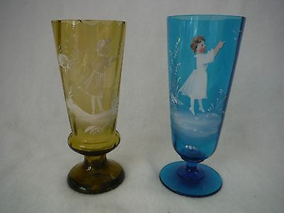 Antique Mary Gregory Hand Painted Optic Panel Footed Ale Glasses ~Lot of 2