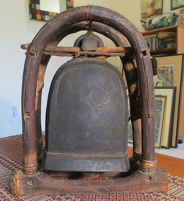 Rare Rustic Antique Temple Elephant Bell Made of Bronze, Wood, Rope
