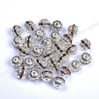 10pcs Coffee Quality Czech Crystal SILVER PLATED Charms Spacer BEADS 6MM