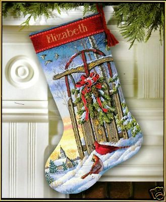 """Dimensions Gold Counted Cross Stitch kit 16"""" Stocking CHRISTMAS SLED Sale #08819"""
