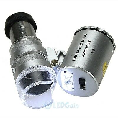 60X Pocket Microscope Jeweler Magnifier LED Loupe Eye