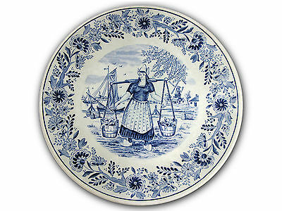 """Collectible Delft Type Souvenir 8.5"""" Plate Made in Belgium by Boch—Harbor Scene"""