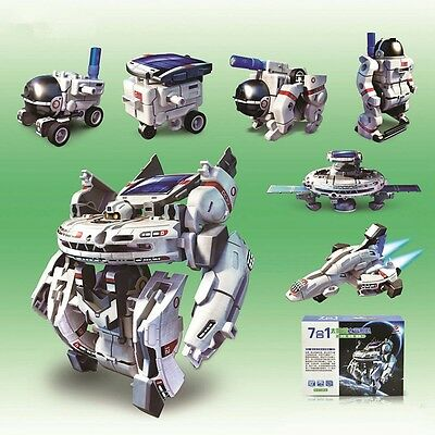 New 7 in 1 Rechargeable Educational DIY Solar Robot Kit Space Fleet Kid Toy Gift