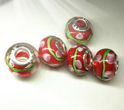 5pcs Silver  GLASS BEAD LAMPWORK fit European Charm Bracelet Fitting  I3
