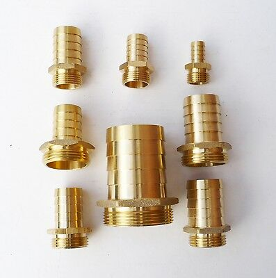 Solid BRASS Hose Tail Connector to Male BSP Thread. Pond, Pool, HosePipe Adapter