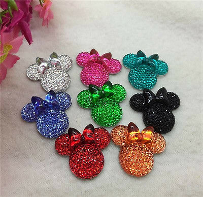 30PCS MIX coLOR Minnie's BOW Flat Back Resin Scrapbooking For phone/Craft new@