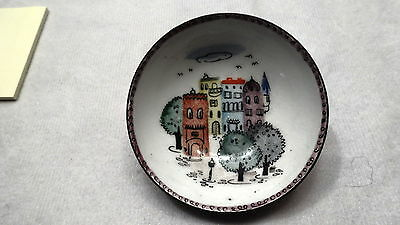 "ANTQ.  STEINBOCK-EMAIL HAND PAINTED  PIN DISH  AUSTRIA W/TAG 2 1/4"" D X 5/8"" H"