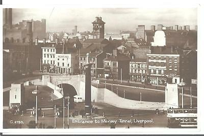 c1920 Aerial View Entrance to Mersey Tunnel Liverpool England UK RPPC Postcard