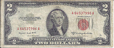 $2 Two Dollar United States note 1953-B  Red Seal Smith-Dillon Free Shipping