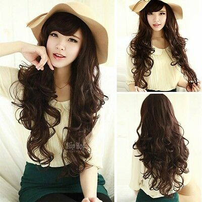 Women Weave Curly Wavy Long Hair Wigs Cosplay Party Brown Full Wig Layer Cut Wig