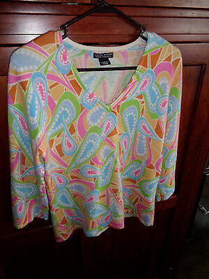 Daniel Bishop 100% Cashmere Multicolored Vee Neck Sweater Hardly Worn Large SOFT