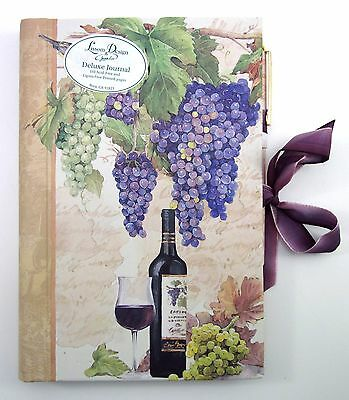 HARDBOUND LINED JOURNAL & BALLPOINT PEN ATTACHED ~ WINERY THEME HIDDEN SPIRAL