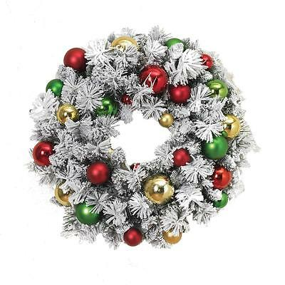 """New 24"""" Deluxe Flocked Snowy Christmas Wreath with Large Ball Ornaments Snow"""
