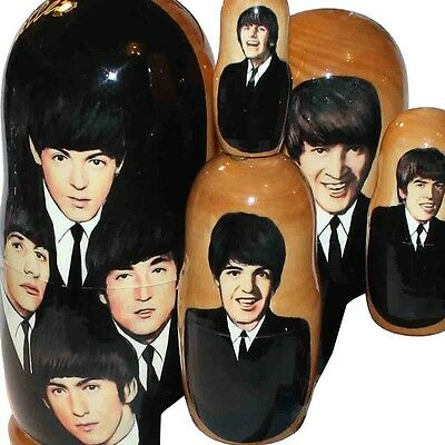 "5 PC RUSSIAN NESTING DOLLS  6,8"" MATRESHKA BEATLES #6"