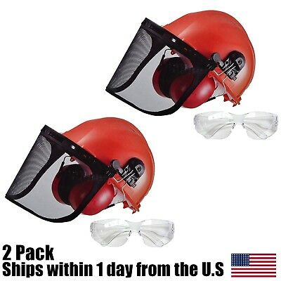 (2) Chain Saw Safety Helmet System Hard Hat Ear Muffs Shield Glasses For Stihl