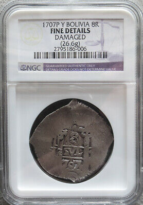 1707 P Y Silver Bolivia 8 Reales Cob Philip V Coinage Ngc Fine *details