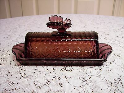 CRANBERRY GLASS 2 PIECE  BUTTER DISH W/ LID AND BUTTERFLY ON TO NICP (BEAUTIFUL!