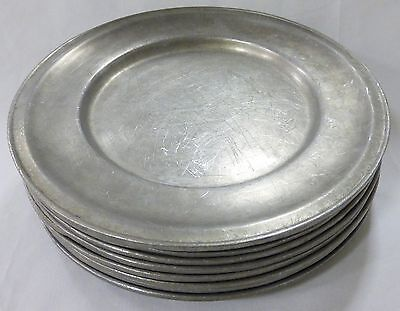 "Wilton columbia dinner silver plates 11"" pewter tavern colonial crest set of 8"