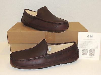 UGG Australia Ascot 5379 China Tea Leather Slippers Loafers - Sizes 7 - 18 - NEW