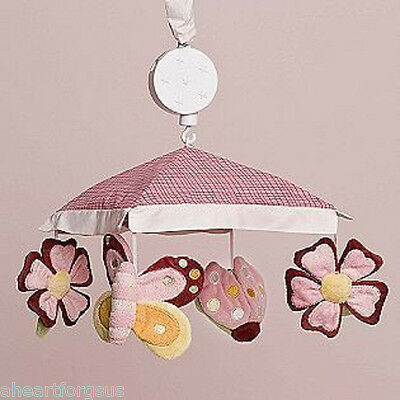 NEW KIDSLINE GARDEN FLOWERS BUTTERFLY LADYBUG PINK BABY CRIB MUSICAL MOBILE