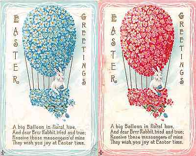 Lot of 2 Early/Vintage Forget Me Nots Air Balloon Easter Bunny Postcards #44047