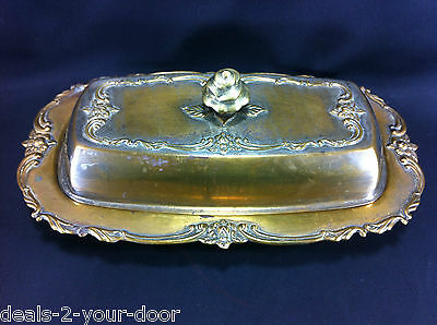 3 Piece Rose Embossed Floral SilverPlate Covered Butter Dish w/ glass