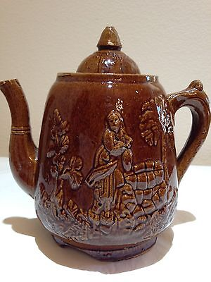 """1800's """"Rebecca At The Well"""" COFFEE/TEA POT By Rockingham Ceramic Brown Glazed"""