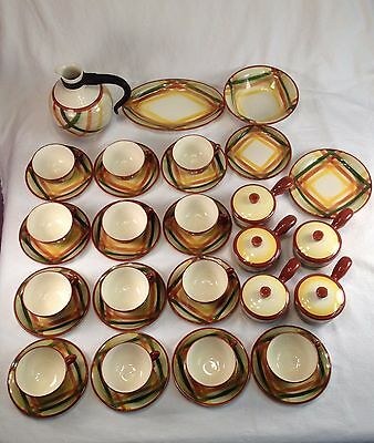36 Pieces Vernonware Homespun - Cups, Saucers, Pot Pie Dishes Platter Bowl Plate