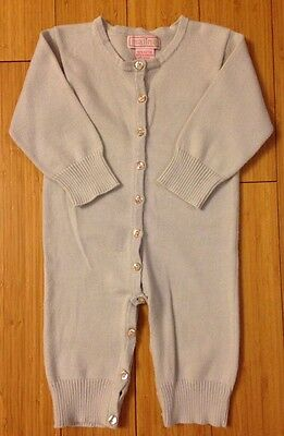 MALINA Baby Blue Sweater Knit Romper High End 6-12m