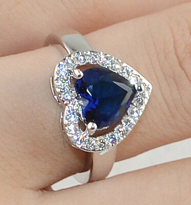 new Noble  Sapphire & white Topaz Gemstones S80 Silver Ring Size9  *A172-9