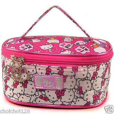 New Hello Kitty Cosmetic Double Print Hand Bag Make Up Case with Hand Strap KK91