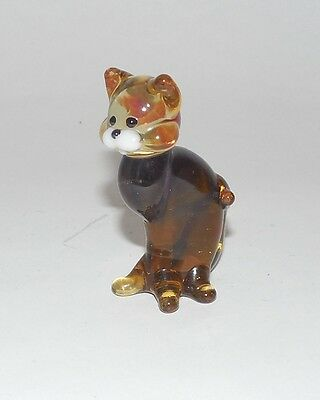 Glass amber lite brown cat Figurine Hand/Mouth-Blown made Russian Murano sitting