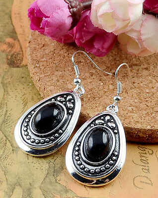 Noble Classical hot cute Turquoise tibet silver hook earrings H-382