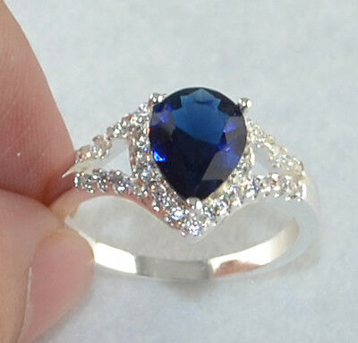 new Noble Sapphire & white Topaz Gemstones S80 Silver Ring Size7 *A179-7